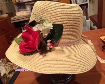 Rose Straw Tea Hat