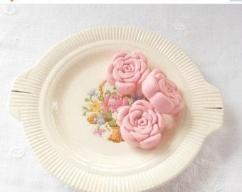On Sale Vintage Salem Petit Point Rose Relish Dish, Serving Plate, Cake Plate, Tea Party Plate, Home Decor