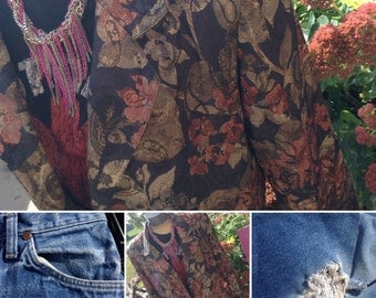 Vintage 80s floral jacket size medium free domestic shipping