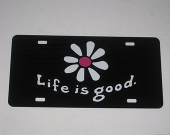 Life is Good Daisy Decal Sticker License Plate - Black Hot Pink - New