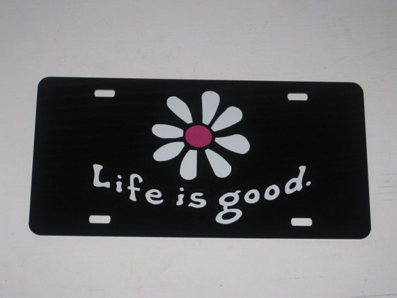 Life Is Good Daisy Decal Sticker License Plate Black Hot