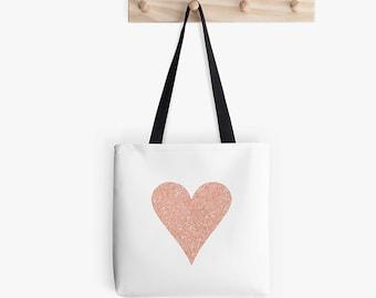 Love heart bag, V day gift for her, Valentine's gift, Tote bag, Rose gold, White bag, Market bag, Library bag