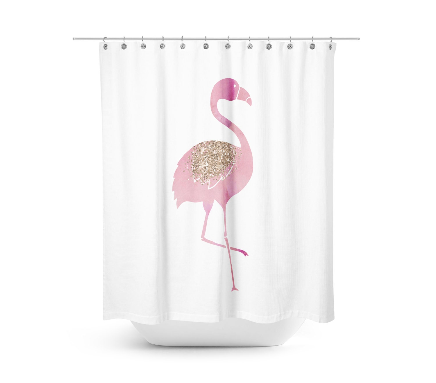 Flamingo shower curtain pink bathroom decor by rubyandb on for Bathroom decor etsy