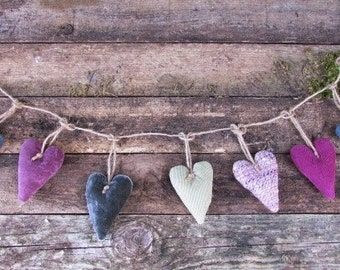 Fabric heart garland  *Spring colours*