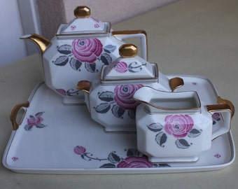 French vintage tea set,Limoges, rose gold trim teapot, sugar bowl, creamer, French tea set on a tray French porcelain tea set French teatime