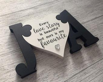 Wooden Jigsaw Initials & Heart