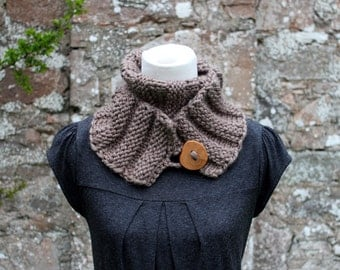 Knitting patterns for women,  button scarf pattern- Listing134