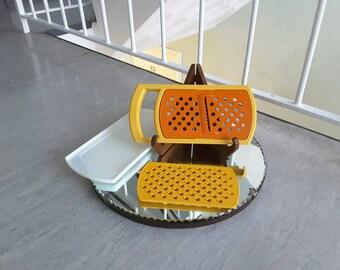 Bright Yellow and Orange Retro Tupperware Grater / Cheese vegetables / Four pieces / Vintage Kitchenalia / 1970s