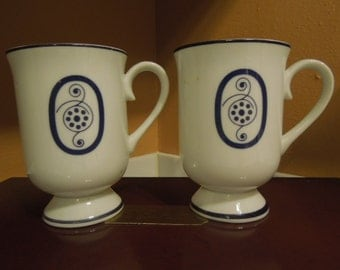 Vintage Colbalt Blue White Porcelain Pedestal Footed Mugs