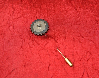 Black and Silver Gears with Silver Crystal Cravat Pin - Stick Pin - Lapel Pin