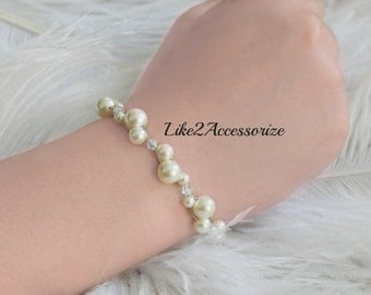 Bridal Bracelet, Wedding Jewelry, Swarovski Pearls Crystals, White Ivory Intertwined Two Layers Delicate Floating Bracelet, Bridesmaid Gift