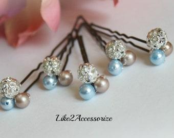 Set of 5 Pins, Something Blue, Bridal Hair Pins, Wedding Hair Accessories, Blue Pearl Hair Clip, Bridesmaid Hair Clip, Bridal Pearl Hair Pin
