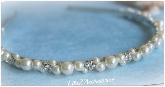 Swarovski Pearls Crystal Bridal Tiara Gold Pearl Headband White Ivory Beaded Silver Metal Headband Hair Veil Flower Girl Wedding Accessories