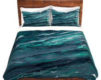 AGATE MAGIC Dark Teal Blue Green Art Marble Duvet Covers King Queen Twin Size Decor Bedding Chic Abstract Colorful Nature Geological Bedroom