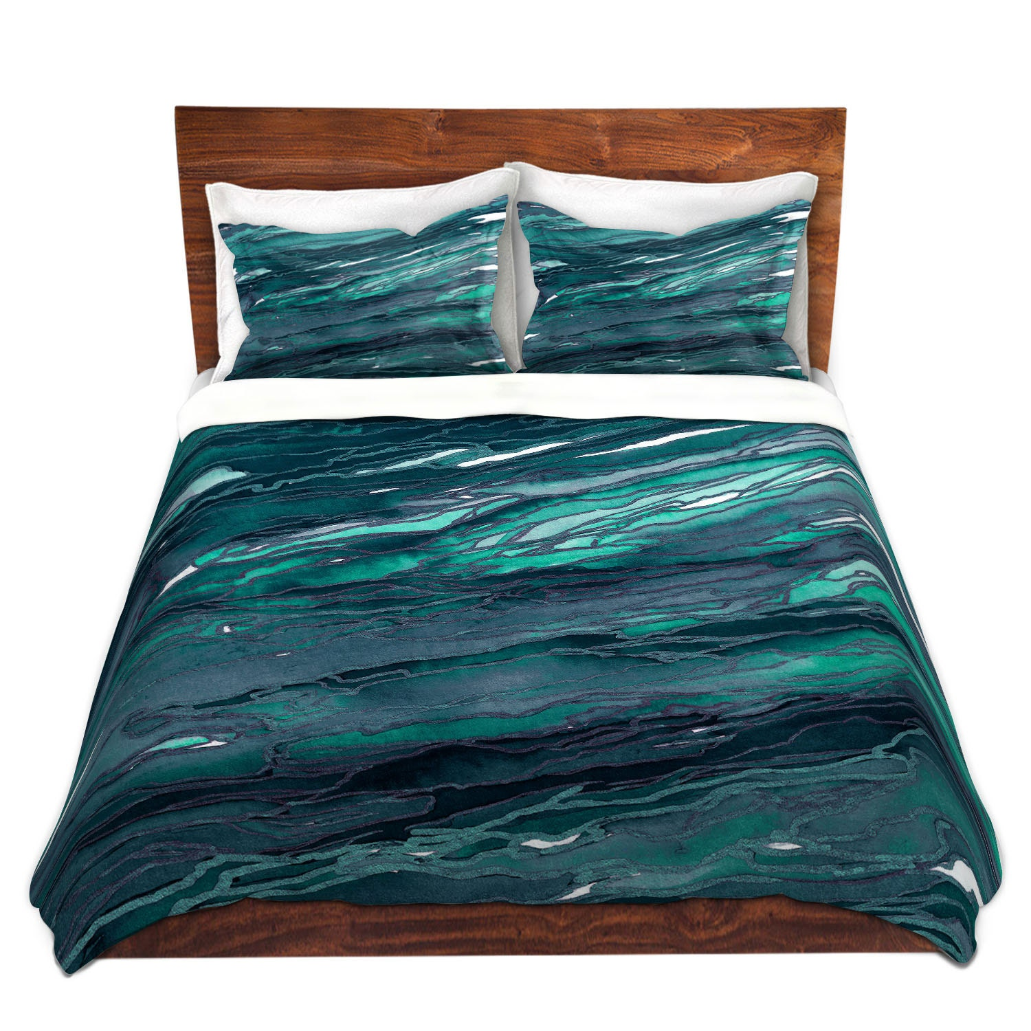 AGATE MAGIC Dark Teal Blue Green Art Marble Duvet Covers