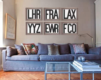 Customizable airport code art - Restoration Hardware style poster or canvas w/ your fav cities - jfk, ogg, yyz, hnl, ord, yvr, lhr, lax, sfo