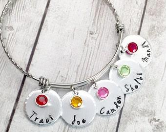 Personalized Adjustable Bangle Bracelet - Name Bracelet - Mom Bracelet - Charm Bracelet - Adjustable Wire Bangle - Hand Stamped Bracelet
