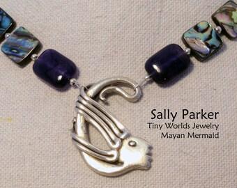 Silver Mayan Mermaid Necklace