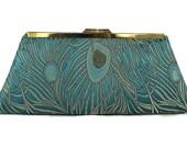 Teal, Gold peacock wedding clutch/   Bridal accessory/ Peacock wedding theme , party clutch/ Fall wedding purse/ Custom made handbag