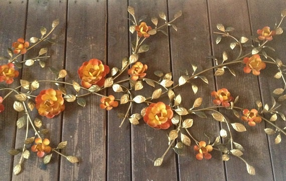 Vintage metal wall decor retro roses metal art wall hanging for Retro wall art