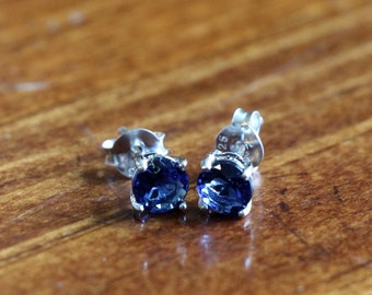 September Sapphire Birthstone Earrings- Sterling Silver - Girl Jewelry- Birthday Present