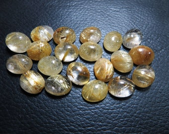 Golden Rutilated Quartz 100% Natural Stone 20 Piece Lot Good Quality Oval Shape Size 8x10 mm