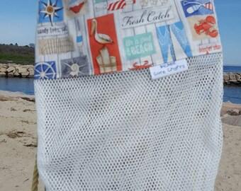 """12""""x14"""" sea shell mesh beach bag"""