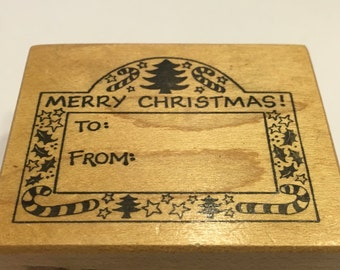 used Merry Christmas rubber stamp, 45 x 55 mm (SB1)