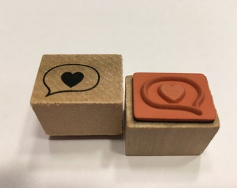small heart in bubble stamp , 17 mm (R5)