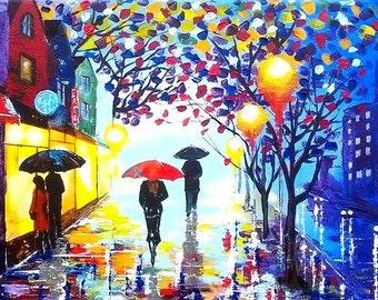 Original Painting Umbrellas 3 - Acrylic Rain People Walking Night Rainy Romantic Street City Town Painting -Abstract Landscape-Made to order