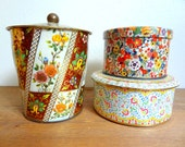 Vintage Floral Tin Instant Collection Daher Tin Set of 3