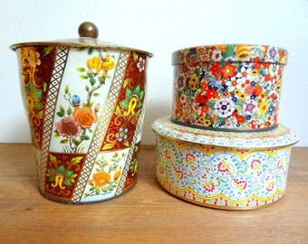 Vintage Floral Tin Instant Collection Daher Tin Set of 3