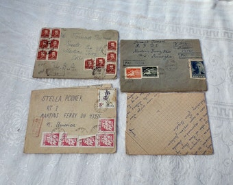 Vintage Letters, Vintage Stamps, Polish Letters, Registered Air Mail Stamps, Paper Ephemera, Correspondence Letters Writing, Penmanship