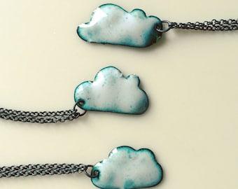 Enamel cloud necklace