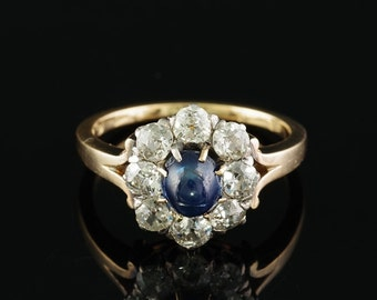 A rare Victorian blue sapphire and diamond ring