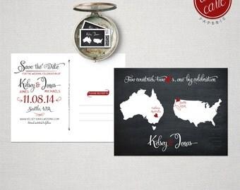 Destination wedding invitation Black  Chalkboard Two Countries, Two Hearts Save the Date Postcard bilingual wedding invitatio