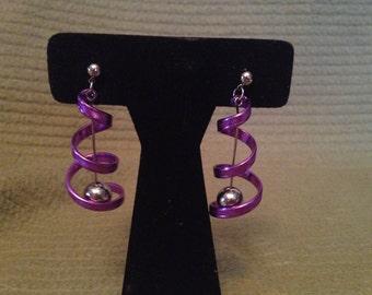 Vintage Silvertone and Purple Swirl Dangle Earrings