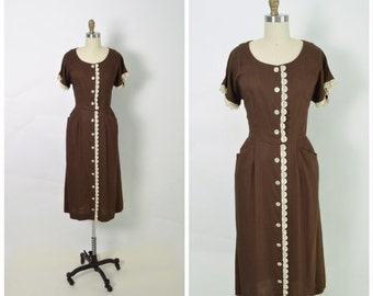Vintage 1950s 1940s Rayon Dress 50s 40s Brown and White