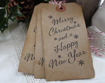 MERRY CHRISTMAS SNOWFLAKE-Gift Tags-Kraft-Rustic-Luggage Tags-Set of 10