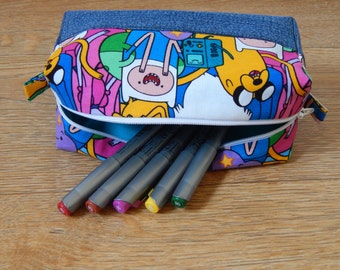 Adventure Time Finn and Jake box pouch, bag, pencil case, wash bag, cosmetic bag, make up bag