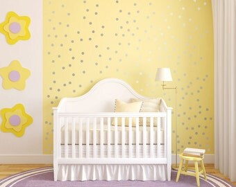Polka Dot Wall Decal Nursery Kids Room Peel and Stick Circle Sticker Metallic Silver Copper Removable Reusable 200 Dots Included