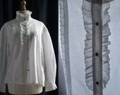 """White blouse, long sleeves, """"broderie anglaise"""" Vintage 1970's/80's"""