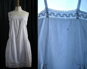 Cotton slip dress white, embroidery, Lingerie 1920's.