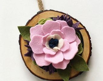 Felt Flower Wood Cut Wall Art - Felt Succulent - Round Wood Cut - Home Decor - Gallery Wall - Felt Flower - Floral -