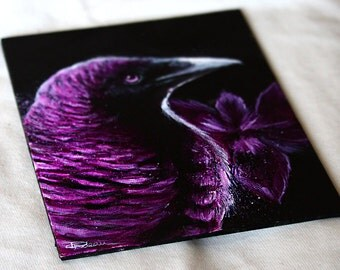 Violet-Backed Starling Painting - Starling Bird Art with Douglas Iris Flowers Artwork Splatter Painting by Danielle Trudeau