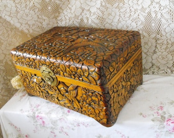 Vintage Asian Camphor Box - Rare - Hand Carved - Box - Trinket Box (Large) - Jewelry Box - Wooden carved box