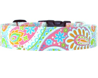 Orange, Pink, Aqua, Paisley Dog Collar; Colorful Girl Dog Collar: Speckled Paisley