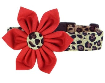 Cheetah Dog Collar and Flower/ Red Flower Dog Collar: Cheetah in Red