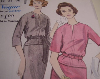 Vintage 1960's Vogue 5167 Dress Sewing Pattern, Size 14, Bust 34