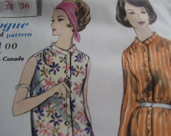 Vintage 1960's Vogue 5260 Young Fashionables Dress Sewing Pattern, Size 14, Bust 34
